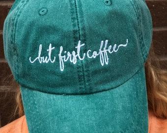 4a3ba41d8d0da But First Coffee HANDWRITING Script Baseball Cap - Handwriting Script  Baseball Hats