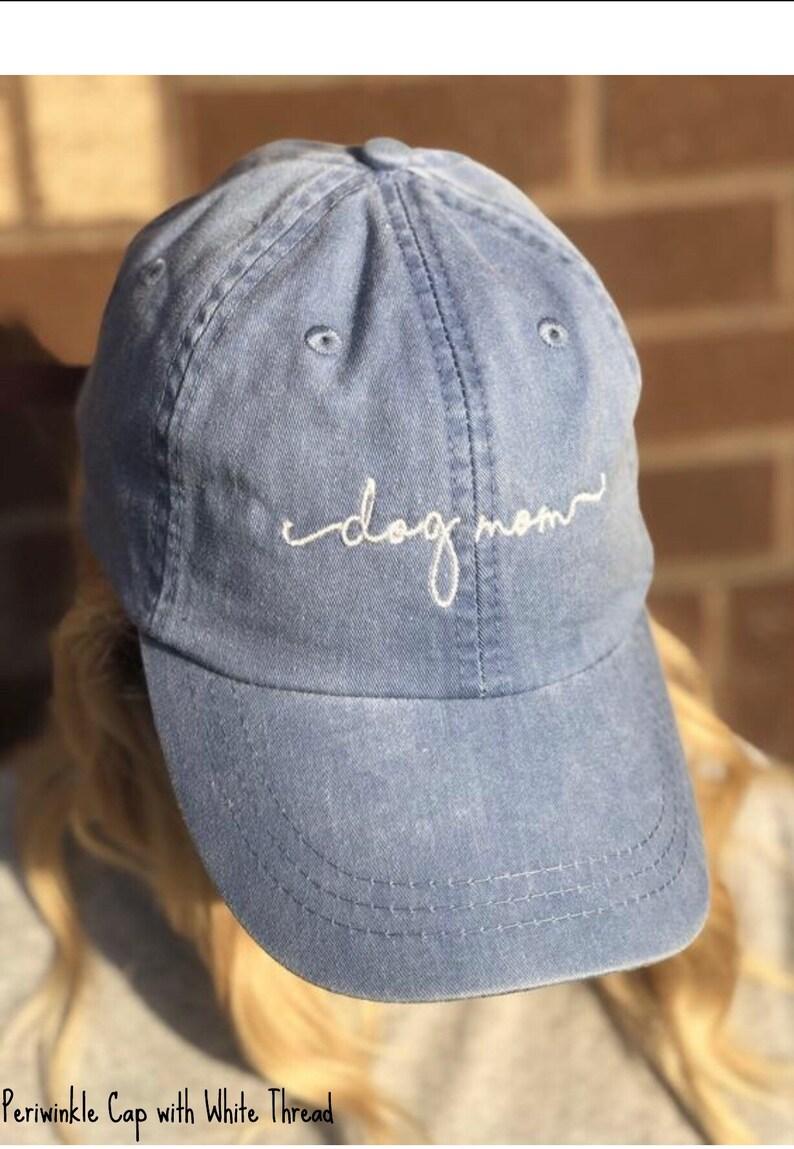 19221a9e8b169 Dog Mom Baseball Cap Handwriting Script Ball Caps
