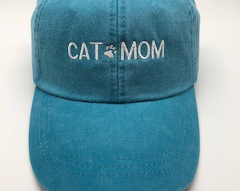 Cat Mom with Paw - BLOCK Style - Baseball Cap - Ball Hat
