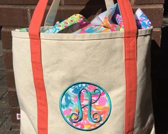 Lilly Pulitzer Applique Canvas Tote - Beach Bag- Boat Bag - Lilly Pulitzer- Lilly Beach Bag
