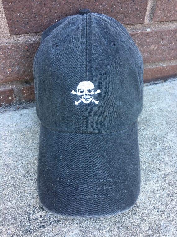 Skull Hat Skull and Crossbones Baseball Hat Tiny Design  dd580fc715eb