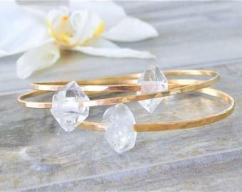 Quartz Crystal Bangle, Quartz Crystal Bracelet, Raw Quartz Bracelet, Raw Crystal Bracelet, Herkimer Diamond Bracelet, Raw Crystal Bracelet
