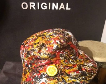 2f96d109bb1 Hand painted abstract The Roses inspired bucket hat created in Manchester  all individual one offs
