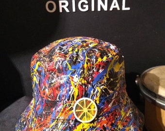 76c0da8414d Stone Roses Elephant Stone sleeve inspired hand painted bucket hat created  in Manchester adults one size