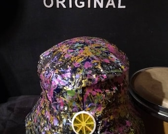 b7105bec9d7 Hand painted wearable abstract art on a black bucket hat size 58cm adults  inspired by the roses and Jackson Pollock created in Manchester