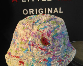 5cea7a016e1 Hand painted children s bucket hat size 1 to 2 years stone cotton base
