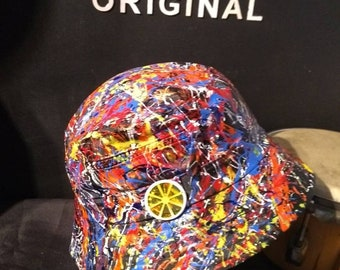 Stone Roses Elephant Stone sleeve inspired hand painted bucket hat created  in Manchester adults one size 0fa5a3c95fb9
