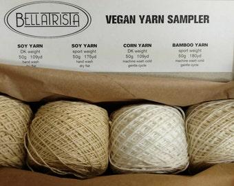 Vegan Yarn Sampler - soy, peppermint, bamboo, banana