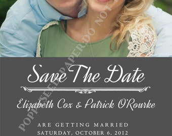 Save the Date Invitation- Save the Date Announcement- Wedding- with Photo- Personalized -Digital File or Printed Invitation- Double Sided
