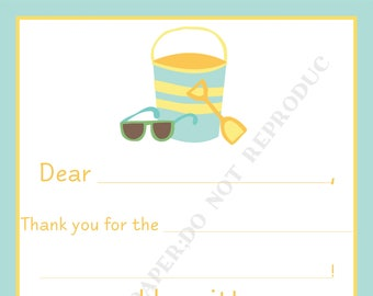 Beach Fill In Thank You Notes- Kids- Children- Sand pail Stationery- Birthday Party, Beach thank you notes