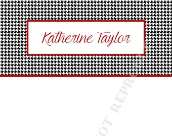 Custom houndstooth notepad set (two) personalized-Monogram- Initial- Name