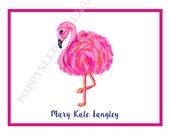 Flamingo notecards, Personalized folded note cards- Thank You Notes- Personalized note cards, Flamingo stationery