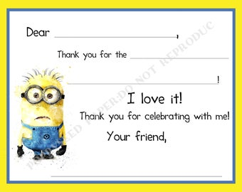 Despicable Me Thank You Cards Etsy