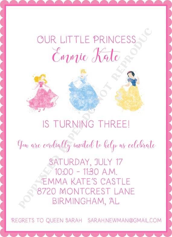Disney Princess Birthday Invitation Personalized Digital