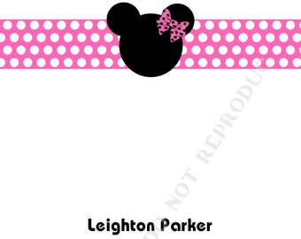 Minnie Mouse note card, personalized flat note cards, Thank You Note, Minnie Mouse stationery with name