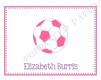 Soccer note card, folded note cards, Soccer stationery, Soccer Thank you note