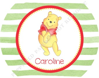 Winnie the Pooh plate or bowl - Personalized Winnie the Pooh melamine plate or bowl- Personalized plate-  Winnie the Pooh bowl