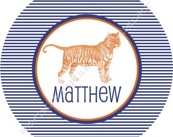 Tiger plate- Personalized melamine plate- Personalized plate- Kids plate- Tiger with Name -10 inch
