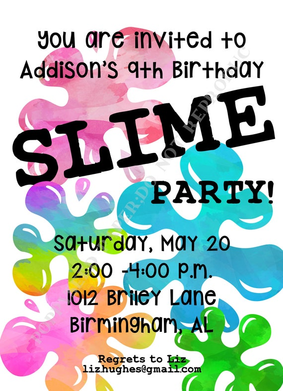Slime Birthday Party Kid Invitation