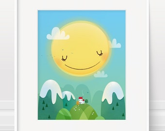 Childrens art - original kids art, happy home print, nursery art, sunshine print, cute kids art, kids wall art, sunshine art, new home art