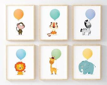 Nursery Prints, Nursery Wall Art, Safari Nursery Decor, Set Of 6, Kids Room  Decor, Animals U0026 Balloons, Kids Room Art, Nursery Animal Prints