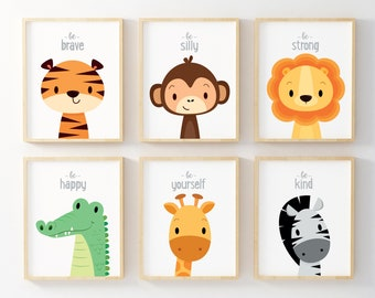 Kids wall art, Nursery wall art, Nursery prints, Safari nursery, Animal nursery, Jungle animal prints, New baby gift, Nursery print, Neutral