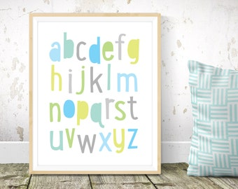 Alphabet nursery print - alphabet print, boys nursery wall art, boys room decor, Scandinavian kids art, modern kids art, simple art print