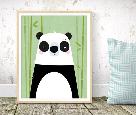 Art De Mur De Chambre De Bebe Panda Impression Panda Pepiniere Impression Art Mural Decoration Murale De Chambre De Garcon Bebe Chambre Enfants