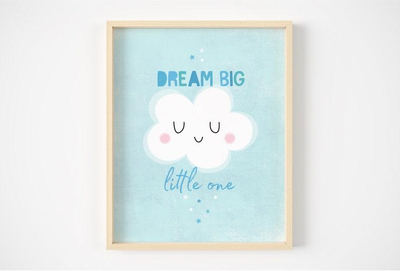 Children Gift Dream Big Little One Wall Decor Print Kids Bedroom Nursery