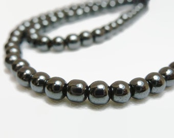 4mm Non Magnetic Hematite Beads 1 strand of approx 100 beads