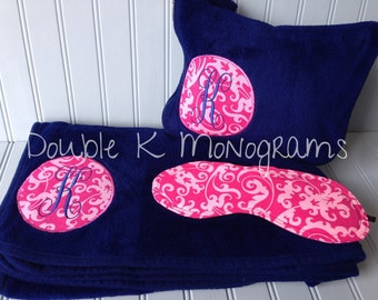 Comfort Travel Set / Monogrammed travel blanket and pillow / Custom coordinating eye mask / Airplane blanket