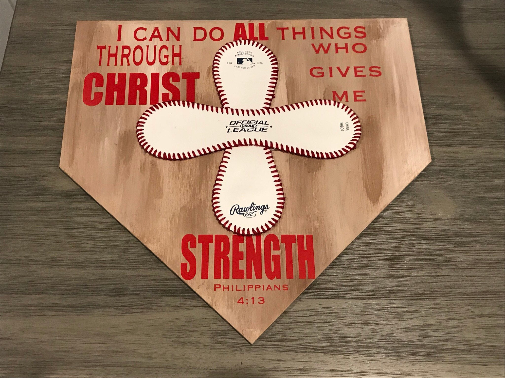 I Can Do All Things Baseball Home Plate Decoration Bible Verse Decoration Bedroom Decoration For Little Boy Philippians 4 13
