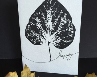 Autumn Leaves in Black Monoprint Cards with Envelopes