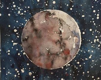 "Titled ""Red Super Moon, 2014""  Watercolor Painting"