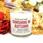 Sunshine in Autumn | 8oz jar, wood wick | Happy + Home Collection | soy candle | cranberry, leaves, woods