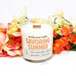 Savoring Summer | 8oz jar, wood wick | Happy & Home Collection | soy candle | peach, blood orange, sangria