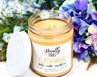 Cliffhanger | 9oz jar | Reading, Writing, Book-inspired soy candle | Book Candle | Bookish Gift