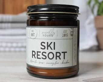 Ski Resort · 9oz amber jar · travel, destinations, wanderlust · travel gift · mountain, ski, cabin, forest