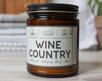 Wine Country · 9oz amber jar · travel, destinations, wanderlust · travel gift · wine, merlot, chardonnay, cork
