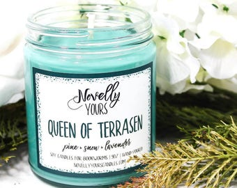 Queen of Terrasen |  9oz jar | Throne of Glass, Celaena, Aelin inspired soy candle | Book Candle | Bookish Gift