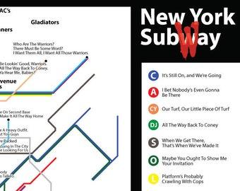 Subway Map To Coney Island.Subway Etsy