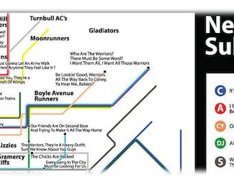 Warriors Subway Map.Warriors Art Etsy
