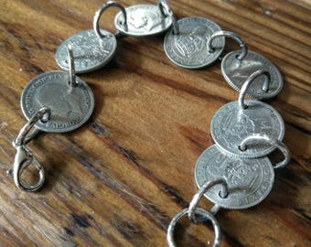 Silver Sixpence - Antique Vintage Coin Bracelet - Upcycled Ladies Jewelry