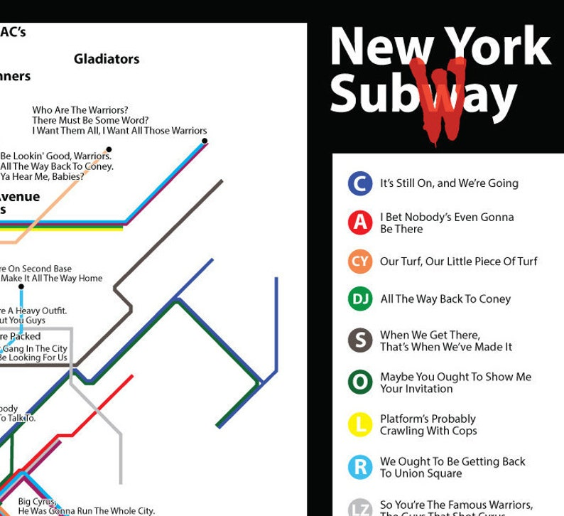 1979 Subway Map.The Warriors Movie Quotes Subway Map A3 Wall Art Print New York Coney Island Nyc Gangs 1979 Movie