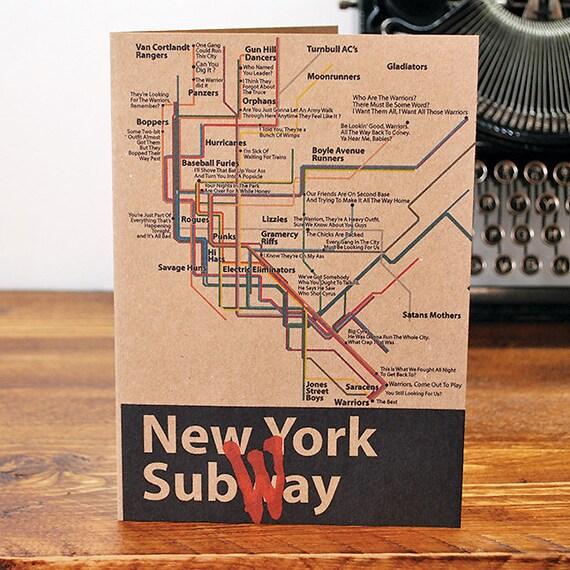 Subway Map Baseball.The Warriors Recycled Greeting Card Nyc New York Subway Map Gangs Baseball Furies Can You Dig It 1979 Movie
