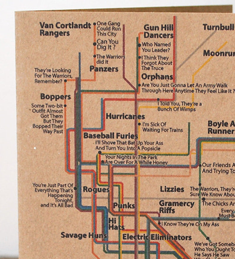 Warriors Subway Map.The Warriors Recycled Greeting Card Nyc New York Subway Map Gangs Baseball Furies Can You Dig It 1979 Movie
