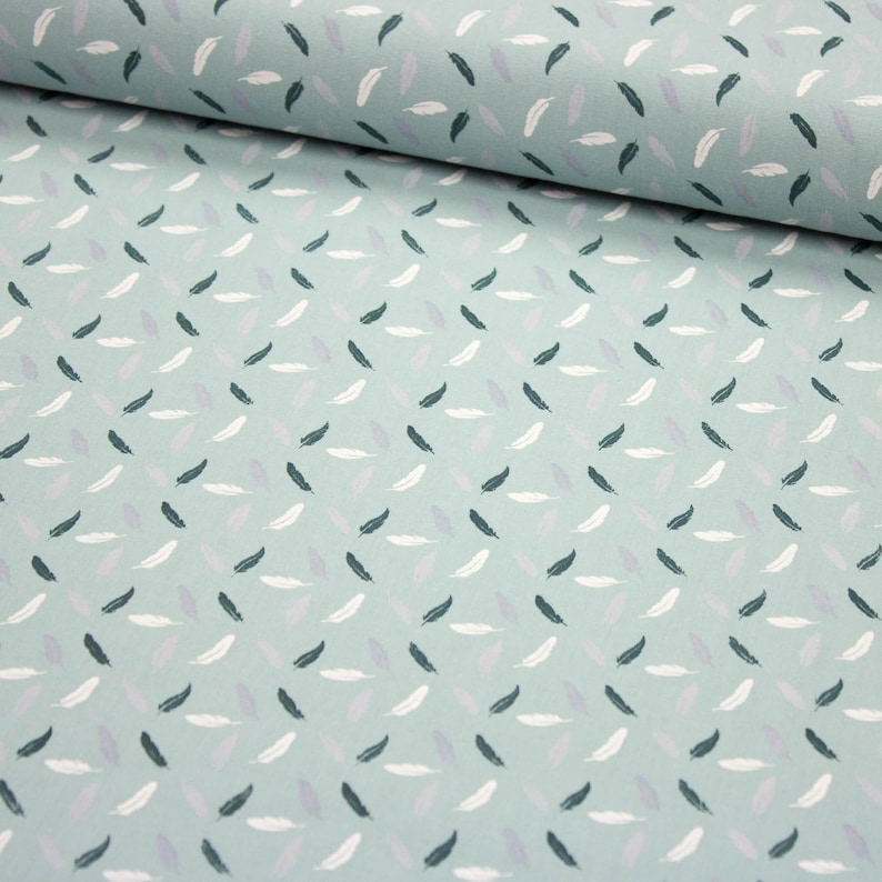 Fabric Cotton with small Feathers smoke mint