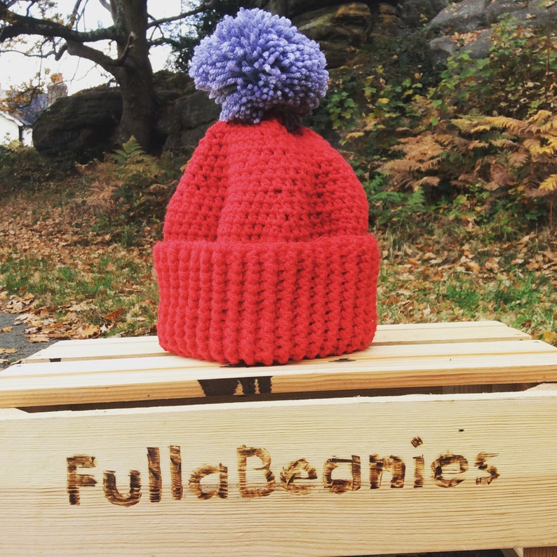 Pom-Pom Beanie mens ladies child crochet Pom Pom beanie image 0