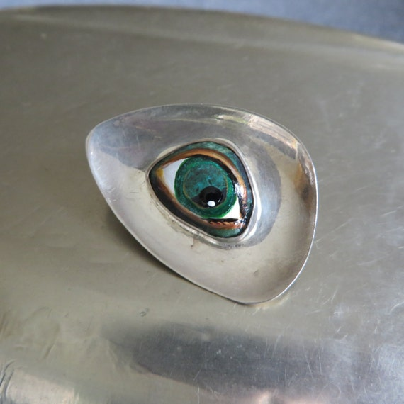 Vintage 925 Sterling Chain and Oval MOP Cabochon Pendant with Hand Painted Lover/'s EyeEvil EyeThird Eye Talisman