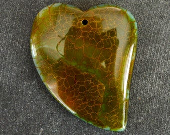 45mm Agate Pendant Designer Gemstone Pendant Brown Stone Heart 45x35x7mm Dyed Natural Stone Striped Agate Pendant